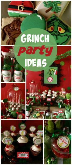 A Merry Grinchmas holiday treat table with cupcakes, red chocolate dipped marshmallows and Seuss soda! See more party planning ideas at http://CatchMyParty.com!