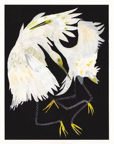 Dancing Egrets  Archival Print by unitedthread on Etsy, $40.00