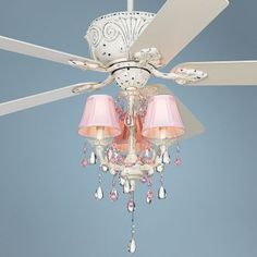 Ceiling Fan - I like the ceiling mount and blades. I would nix the bling and have different lamp shades. Going with a safe beige or light blue. Or something patterned.