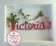 Arte Quilling, Paper Quilling Designs, Quilling Craft, Quilling Ideas, Victoria Name, Quilled Creations, Origami, Name Art, Baby Shower