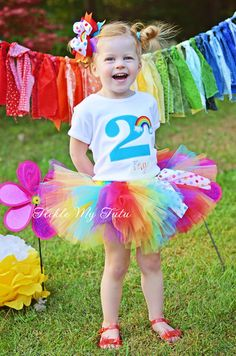 Over the Rainbow Birthday Number Tutu Outfit by TickleMyTutu