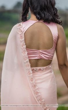 Rose Dust Pure Silk-Chiffon Printed Saree with Raw-Silk Pearls' Embroidered Blouse