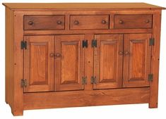 Amish Pine Wood Farmhouse Buffet Fresh farmhouse look for storage and spreading out food. Made with solid pine. Buffet tables make use of horizontal space. Built in an Amish woodshop just for your dining room or kitchen. #buffets #buffettables