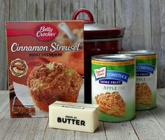 Crock Pot apple cobbler made with apple pie filling, a box of cinnamon muffin mix and a stick of butter. Ready in just a few hours, this easy dessert is like apple pie without all the work. Yummy Recipes, Crockpot Dessert Recipes, Crock Pot Desserts, Apple Dessert Recipes, Dump Cake Recipes, Apple Crisp Recipes, Easy Desserts, Cooker Recipes, Yummy Food