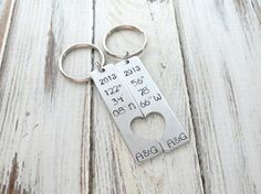 Personalized Coordinate Keychain  - Custom Couples Key Chain - Heart - Anniversary Gift - Engraved - Hand Stamped - by accessoriesbyregina
