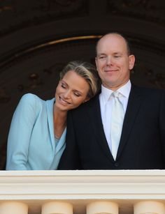 Prince Albert II of Monaco and Princess Charlene of Monaco pose on the balcony after their civil wedding at the Prince's Palace on July 1, 2011, in Monaco.