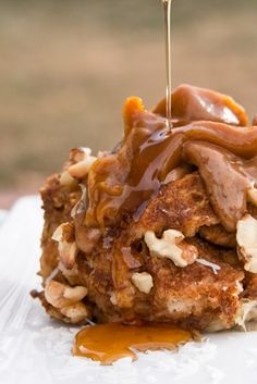 Organic pumpkin french toast try it with organic honey add organic coconut and organic pecans instead of walnuts