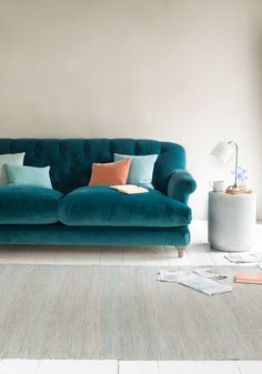 Mother-in-law hates it? A classic Loaf sofa then. Living Room Sofa, Living Room Decor, Living Spaces, Teal Sofa, Bedroom Closet Design, Sofa Colors, Up House, Furniture Styles, Diy Furniture