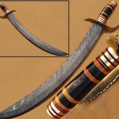 Custom Made Full Tang Damascus Steel Sword Damascus Steel Sword Craftsmanship Damascus Steel Sword, Damascus Knife, Best Pocket Knife, Japanese Sword, Forged Steel, High Carbon Steel, Knives And Swords, Survival Knife, Really Cool Stuff