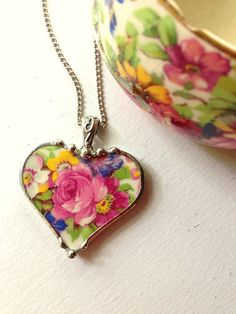 Broken china jewelry heart pendant necklace antique Royal Winton Summertime chintz china