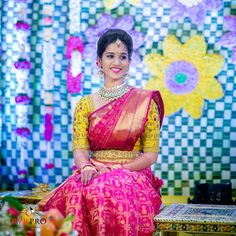 A pink saree with a worked yellow blouse. Wow the combo. ❤️ Photo by Wedding Saree Blouse Designs, Pattu Saree Blouse Designs, Half Saree Designs, Blouse Designs Silk, Blouse Patterns, Indian Bridal Sarees, Bridal Silk Saree, Wedding Sarees, Silk Sarees