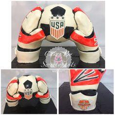 Soccer goalie cake.  Suspended soccer ball.  USA soccer ball