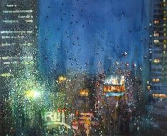 Nocturne, Watercolor Landscape Paintings, Dusk, Twilight, Akasaka, City, Rain, Pen And Wash