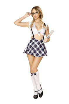 The boys will be lined up at your locker for a chance to take you out in the Playful Schoolgirl Costume by Roma style 4550. Costume features front tie white top and plaid sexy high waisted mini skirt with suspenders.