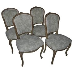 Set of 4 Louis-XV-Style Carved & Painted Side Chairs