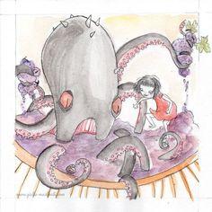 Giulia Maidecchi * September and autumn - Grape harvest with the kraken. The girl squashes the grapes with her feet to make wine helped by a giant octopus. Illustration for a calendar contest. * Settembre e l'autunno - Vendemmia con il Kraken. Illustrazione con per il Concorso per il Calendario di Città del Sole.