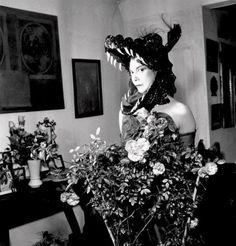 Leonor Fini with headdress.