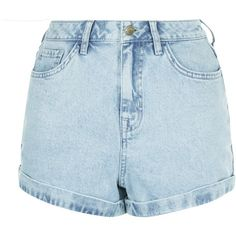 New Look Light Blue Denim Acid Wash Turn Up Mom Shorts ($26) ❤ liked on Polyvore featuring shorts, pants, wedgewood blue, denim shorts, blue shorts, light blue denim shorts, acid wash shorts and blue denim shorts