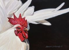 Japanese+Rooster+5x7,+painting+by+artist+George+Lockwood