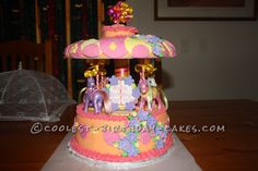 My Little Pony Merry-Go-Round Cake... This website is the Pinterest of birthday cake ideas
