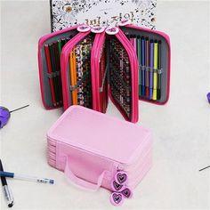 72 buracos 4 camadas de saco caixa de lápis caneta estacionário bolsa saco de viagem de armazenamento de maquiagem escova cosmética