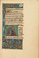 Initial J: Saint John the Evangelist, Master of the Dresden Prayer Book or workshop of Master of the Dresden Prayer Book, about 1480-85?