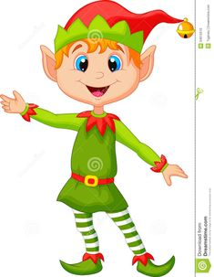 Christmas elf | Illustration of Cute christmas elf cartoon presenting.