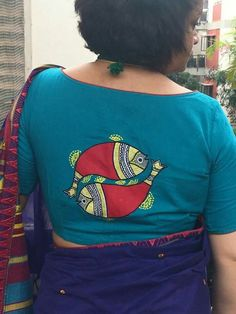 30 Best Bridal High Neck Blouse Back Designs You Want to try 2018 - Wedandbeyond Blouse Back Neck Designs, New Saree Blouse Designs, Fancy Blouse Designs, Blouse Patterns, Stylish Blouse Design, Boutique, Fabric Painting, Madhubani Painting, Embroidery Works