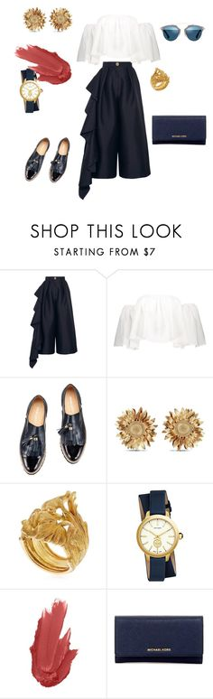 """""""Sunflower"""" by futuraocculto ❤ liked on Polyvore featuring Solace, Asprey, Vanzi, Tory Burch, Maybelline, MICHAEL Michael Kors, Christian Dior, white and Blue"""