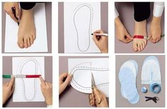 How to Make Fabric Slippers with Free Pattern www. Sewing Slippers, Felted Slippers, Crochet Slippers, Sewing Tutorials, Sewing Crafts, Sewing Projects, Sewing Patterns, Fabric Crafts, Make Your Own Shoes