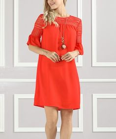Love this Red Lace-Shoulder Bell-Sleeve Shift Dress - Plus Too on #zulily! #zulilyfinds