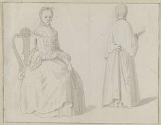 unknown | Op stoel zittende vrouw en vrouw met waaier op de rug gezien, unknown, 1700 - 1799 |