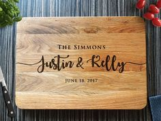 Personalized Cutting Board Wedding Gift, Monogram Custom, Engagement Gift, Anniversary Gift, Engraved Wooden Chopping Block,Kitchen Decor 19, rustic, home decor, diy decor, farmhouse, gift, last name, Christmas gift, wedding gift, last name, cheese platter, tray, kitchen, wall art, serving tray, cutting board, fruit spread #afflink