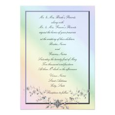 Rainbow Theme Wedding Invitations with Flowers