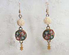 Vintage Micro Mosaic Earrings - Carved Bone Beads - 14K Gold Filled Fish Hook Ear Wires