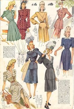 Le Petit Echo de la Mode, 1943 color illustration vintage fashion dress day wear suit jacket skirt black blue pink red white stripe floral tan green early 40s war era