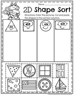 Looking for awesome shapes worksheets and games to use in your classroom? This and Shapes - Kindergarten Math Unit is filled with hands-on activities and no-prep worksheets to help children learn about and use shapes. Shape Worksheets For Kindergarten, Shapes Worksheets, Preschool Learning Activities, Free Preschool, Preschool Printables, In Kindergarten, September Preschool, Shape Sort, Teaching Shapes