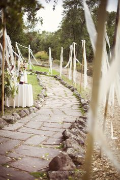 Ribbon on bamboo path markers