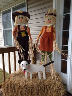 Scarecrows and puppy