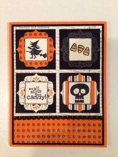 Stamps: Halloween Hello Cardstock/Paper:Pumpkin Pie,Very VanillaandBasic Blackcard stock. Witches' Brew Designer Series Paper. Ink...