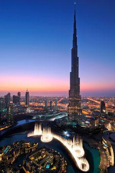 Dubai. Sunset City View of Burj Khalifa Tower with Dubai Armani Hotel inside.