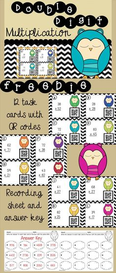 Do your students need to practice double digit multiplication? Do you want to try QR codes? This freebie is a no risk way to try out these owl themed task cards.