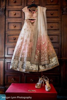 Bridal blouse, Lengha and shoes with bridal dupatta. A perfect Indian bridal dress Indian Bridal Wear, Indian Wedding Outfits, Pakistani Outfits, Indian Ethnic Wear, Bridal Outfits, Indian Outfits, Indian Reception Outfit, Indian Clothes, Bride Indian