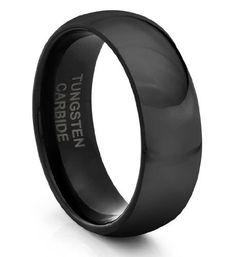 8MM Tungsten Carbide Classic Black Mens Wedding Band