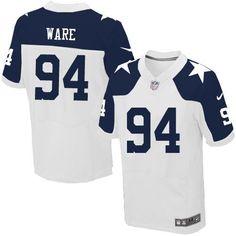 NFL Men s Elite Nike Dallas Cowboys  94 DeMarcus Ware Throwback Alternate White  Jersey 628ef6afd
