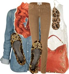Chambrey top, coral purse and scarf, leopard, white lace