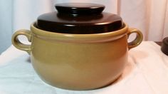 Hearthside Stoneware 2 qt Casserole Bean Pot with Lid by CandDTreasures on Etsy