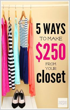 Want to make money quickly? Go into your closet! Here are five ways you can make money from your closet in under two hours. Like $250 in two hours!!! Get started tonight. ways for students to make extra money, make money #college #studentdebt