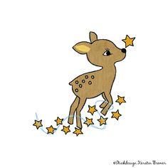 Reh Emily Sterne Doodle Stickdatei von KerstinBremer.de. So cute! ♥ Doodle deer appliqué machine embroidery design.   #sticken #nähmalen #sterne #rehkitz