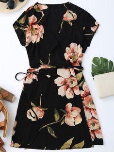 Cap Sleeve Floral Mini Wrap Dress - Black M